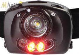 Peli 2720  állítható erősségű 1 LED + piros fényű (night vision) fejlámpa, pirosan villogó S.O.S. jelzéssel, 200 lm