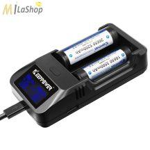 KeepPower LCD akkutöltő Li-ion 14500/16340/CR123/18650/26650 cellákhoz Power bank funkcióval