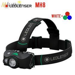 LEDLENSER MH8 outdoor tölthető LED 4 színű(fehér, piros, kék, zöld) fejlámpa 600lm - fekete